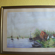 Pastel Pencil Seaside Village scene by artist J Van Biesen