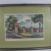SOLD Watercolor Print, Main Gate by Janet Campbell, Signed and Numbered 279/1000