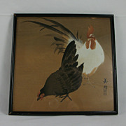 Early 1900s Japanese Woodblock on mulberry, Rooster & Hen by BIHO Takahashi