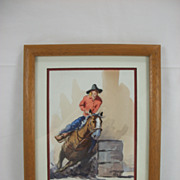 Barrel Racer, Watercolor by Lorenzo Castaneda, 1993