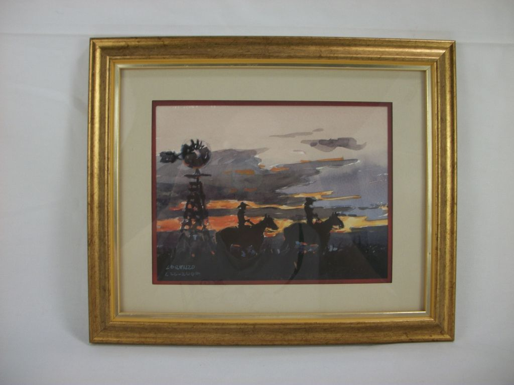 Windmill at Dawn Watercolor by Lorenzo Castaneda, 2000