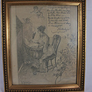 1895 Original graphite by Danish artist Thorvald Rasmussen