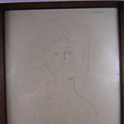 Figura or Figure Antonio Bueno Original Pencil on Paper, 1969