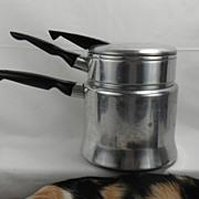1950s Mirro Double Boiler with Bakelite Handles