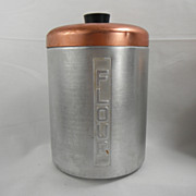 Metasco Mid Century Aluminum Flour Canister with copper-colored lid