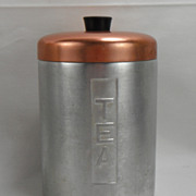 Metasco Mid Century Aluminum Tea Canister with copper-colored lid