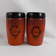 West Bend Salt and Pepper Red Aluminum with Black Bakelite tops
