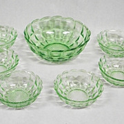 SALE Green Depression Glass Berry Bowl Set