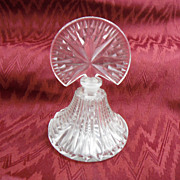 Cut Glass Art Deco Perfume Bottle with Starburst Pattern