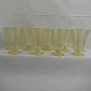 "Hazel Atlas Yellow Florentine Poppy No 2 4"" Footed Juice Tumblers"