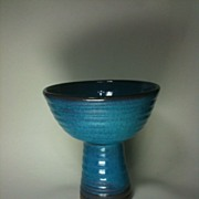 Harding Black open vase, oxidation blue glaze over turned red clay
