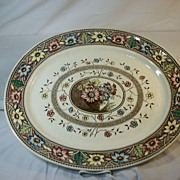 Multi-Colored Transferware Turkey Platter, Palmyra by Sampson Hancock, 1883