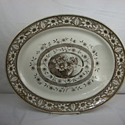 Brown and Gold Transferware Well and Tree Turkey Platter, Palmyra by Sampson Hancock, 1883