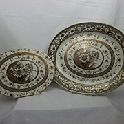Brown/Gold Transferware Turkey Platter with meat drainer, Palmyra by Hancock, 1883