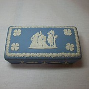 Wedgwood Jasperware rectangular pin box in blue