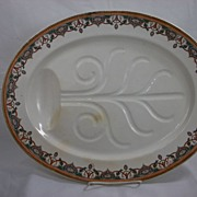 Davenport Polychrome Well and Tree Turkey Platter in the Jewel pattern, 1883