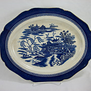 Blue and White Willow platter with a scalloped edge