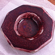Harding Black Tray with Spotted Dark Red Glaze over Oatmeal 1985