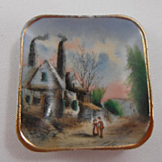 Late 1800s scenic butter pat - Country House