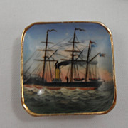 Late 1800s scenic butter pat - Ship