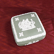 SALE Wedgwood Sage or Light Green Jasperware Square Covered Pin Dish, 1956