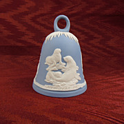 Wedgwood Light Blue Jasperware Bell with Seal Scenes, New Years 1982
