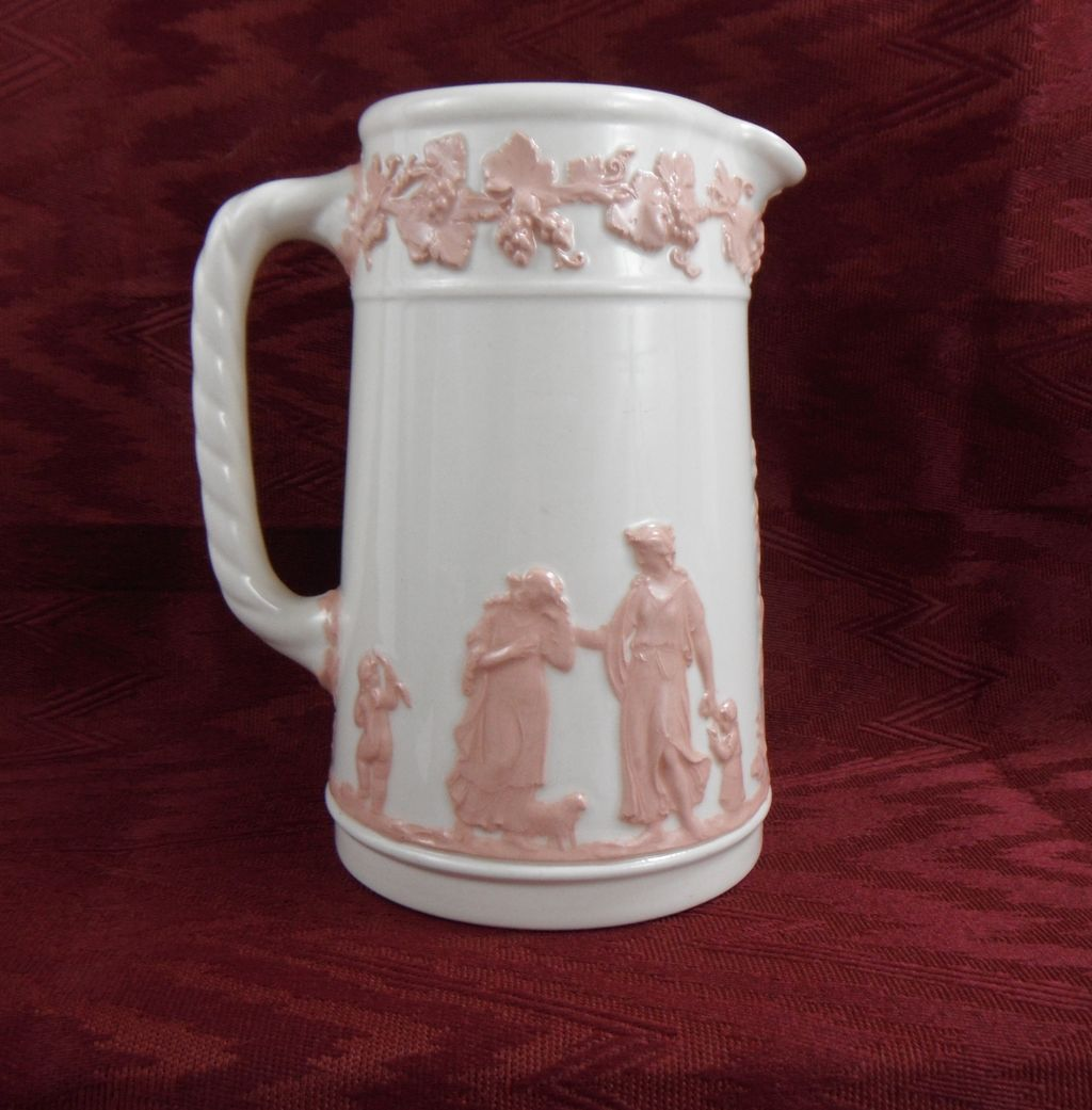 Wedgwood Queensware White with Pink Pitcher, 1930