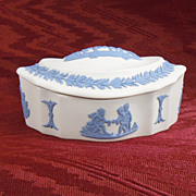Wedgwood White with Light Blue Jasperware Covered Dish, 1980s