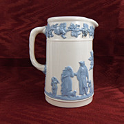 SALE Wedgwood Queensware Light  Blue on White Pitcher, 1936