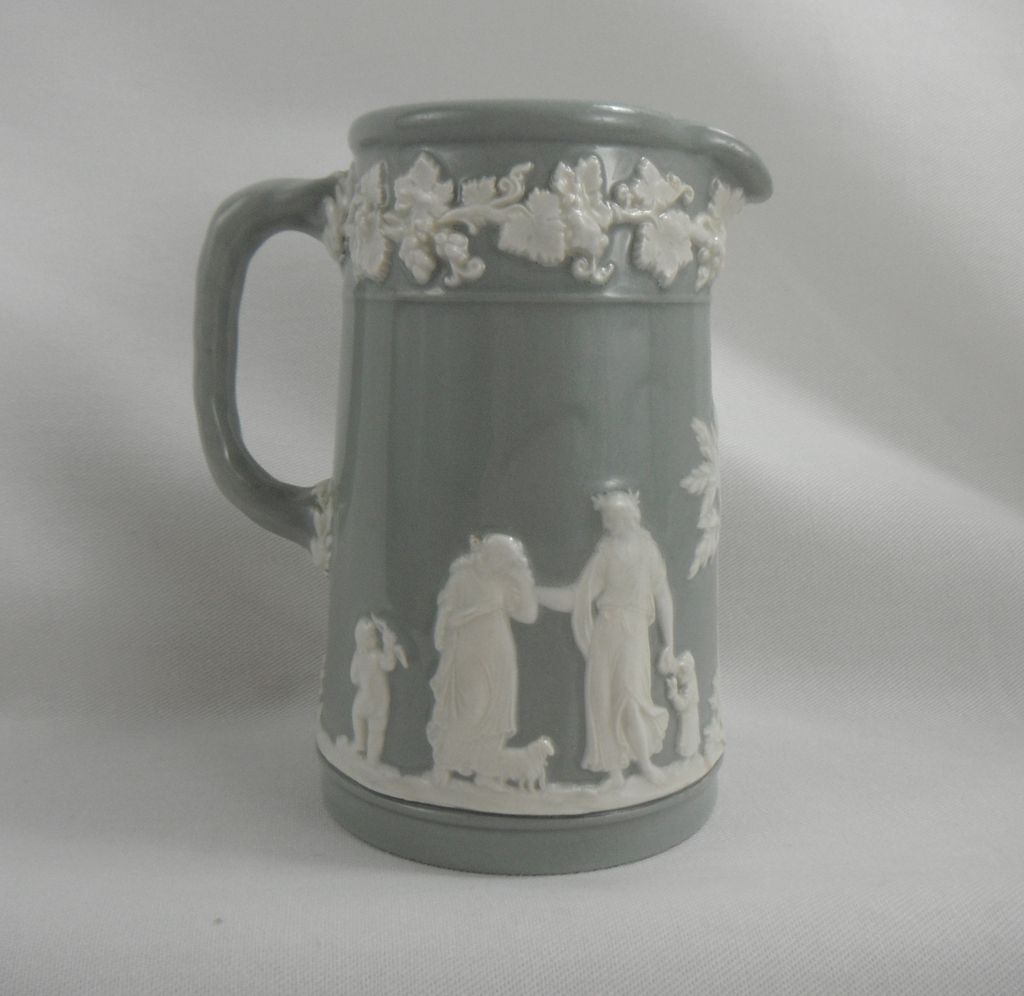 Wedgwood Gray or Grey and White Queensware Pitcher, 1936