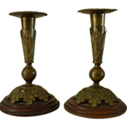 U.S. Cavalry Helmet Plume Socket Candlesticks Unique!
