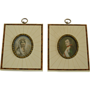 Napoleon & Josephine Portraits Hand-painted on Ivory