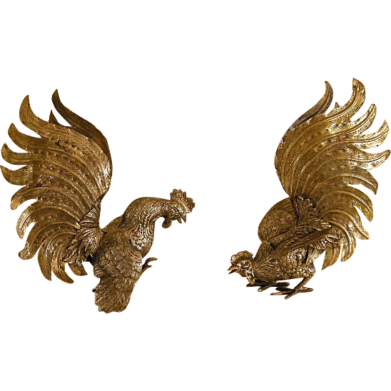 Italian Silverplate Fighting Cocks, Roosters