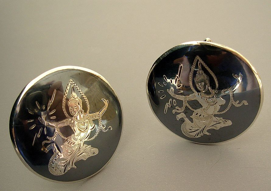 Vintage Siam Sterling Niello Cufflinks