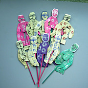 10 Vintage Dancing Paper Puppet Party Favors, Japan