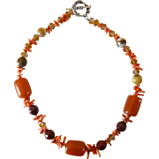 Amber & Coral Bead Necklace