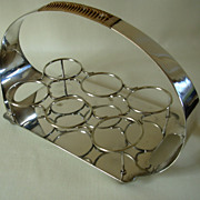 Mid-Century Modern Highball Drinks  Glass Caddy, Tray w. cane wrap