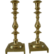 Pr. Antique Victorian Brass Candlesticks
