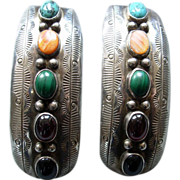 Vintage Navajo Sterling Earrings w. 5 stones