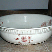 SALE Large Transferware Wash Basin with Chrysanthemums, circa 1890
