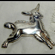 SALE Taxco Mexican Sterling Silver Figural Lamb or Goat Pin