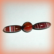 SALE Victorian Scottish Banded Agate and Sterling Pin