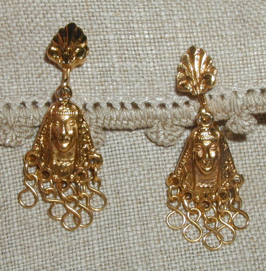 ART (c) Signed Pharaoh  Egyptian Inspired Earrings
