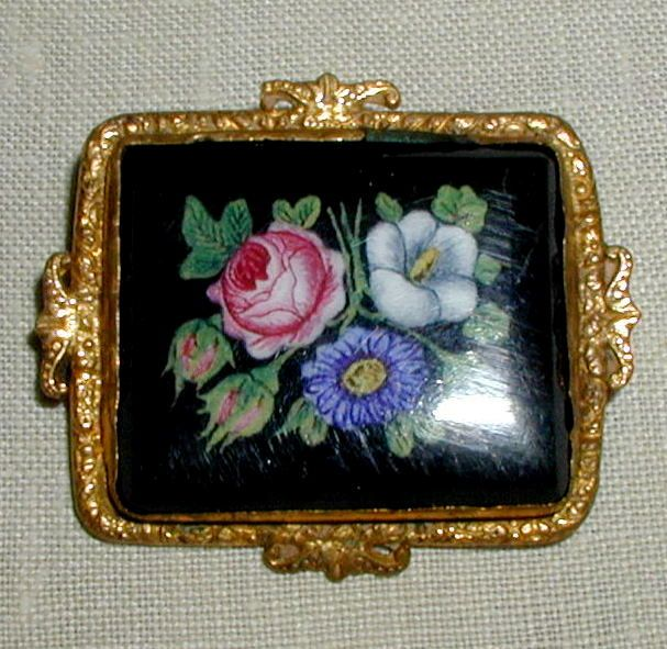 Black Glass Victorian Brooch with Floral Bouquet in Ornate Gilt Frame