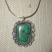 SALE Turquoise and Sterling Silver Pendant