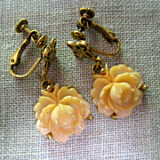 Goldette Rose Earrings - Screwback Clips