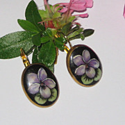 Hand Painted Porcelain Violet Flower Earrings