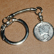 1935 Mercury Dime Coin Keychain