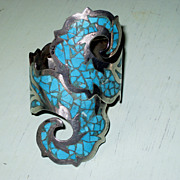 REDUCED Vintage Taxco Mexico Sterling Silver and Turquoise Bypass Clamper Bracelet