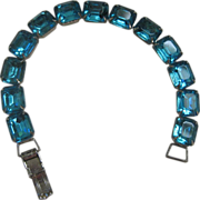 Stunning Large Vintage Aqua Rhinestone Paste Bracelet